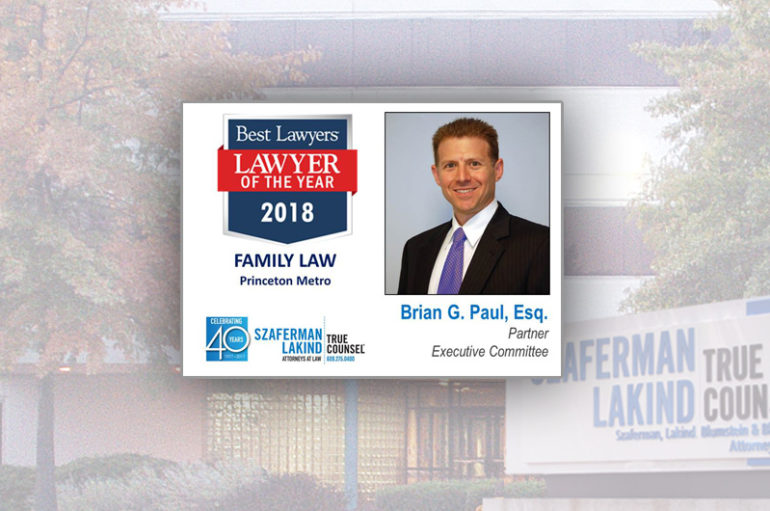 Szaferman Lakind Partner, Brian Paul, 2018 Lawyer of the Year
